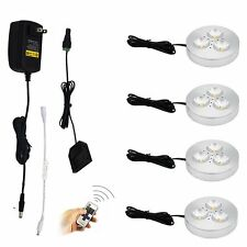 Surface Mount LED Under Cabinet 4x3W Aluminum Puck Lights with RF Remote Control