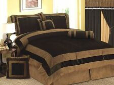 Luxury 7 PC 7 PCS Mocha Brown Micro Suede Bed In A Bag Comforter Set  New.