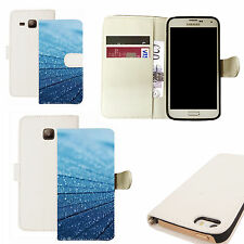 pu leather wallet case for majority Mobile phones - blue lumber white