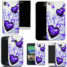 pictoral case cover for most Popular Mobile phones - dark blue twin heart