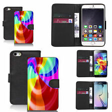 pu leather wallet case for many Mobile phones - rainbow whirlpool