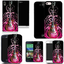 gel case cover for many mobiles - pink guitar  silicone