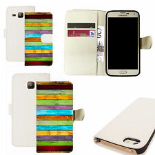 pu leather wallet case for majority Mobile phones - colourful blocks white
