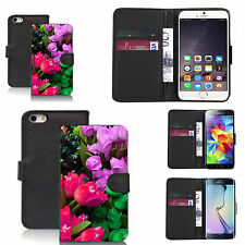 pu leather wallet case for many Mobile phones - colourful tulip