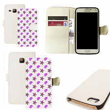 pu leather wallet case for majority Mobile phones - purple shingle white