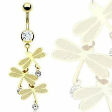 14kt Gold Plated Triple Dragonfly Multi Gem Clear Dangle Navel Belly Ring