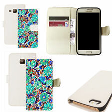 pu leather wallet case for majority Mobile phones - blue dianthus white