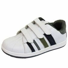 BOYS KIDS CHILDRENS WHITE CASUAL VELCRO SPORTS TRAINERS SHOES PUMPS SIZE Inf 5-3