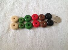 14mm or 17mm painted black brown green natural red wood wooden round donut beads