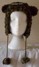Faux fur animal look womens/girls brown trapper hat with ears and pom poms