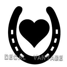 Horseshoe Heart Style B Vinyl Sticker Decal Luck Horse Shoe  Choose Size & Color