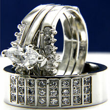 New His Hers 3pcs Womens Engagement & Mens Wedding Bridal Band Rings Set