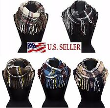 Soft Boucle Plaid Check Infinity Loop Scarf Long Fringe Cowl Scarves Neck Warmer