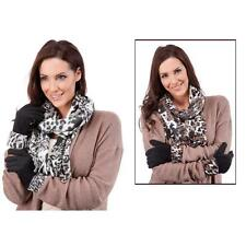 Womens/Girls animal print polar fleece scarf and gloves set in brown or grey