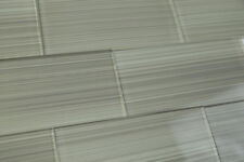 Gray Hand Painted Glass Subway Tile. Popular kitchen backsplashes and bathroom.