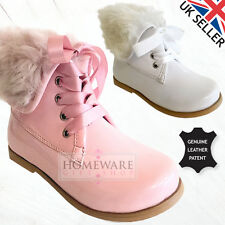 GIRLS PATENT SPANISH STYLE REAL LEATHER CHELSEA BOOTS FAUX FUR - PINK WHITE NEW