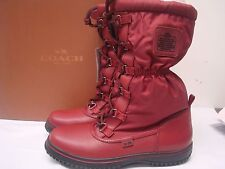 Coach Women's $195 Sage Lace-Up Cold Weather Boots Black / Cherry