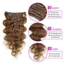 "Body Wavy Clip in Human Hair Extensions Full Head14""16""18""20""22""24"" #8"