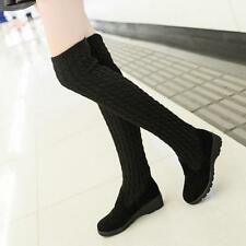 lady  Women's Knitted Stretchy Flat Heel Over The Knee High Boots Cool shoes