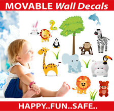 Cute Zoo Animals Moveable Wall Sticker Decal Easy Remove / Reuse Bedroom Decor