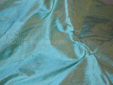 Iridescent Pure Dupioni Silk in Mint with Gold raw silk fabric