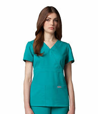 Greys Anatomy 4153 Teal Junior Fit  3 Pocket Mock Wrap Scrub Top
