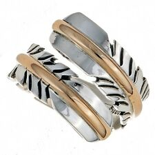 Feather Silver Gold Navajo Ring Feather Wrap Bypass