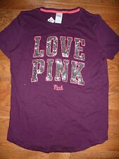 "VICTORIAS SECRET PINK RARE BLING SEQUIN ""LOVE PINK"" SCOOPNECK TEESHIRT  NWT"