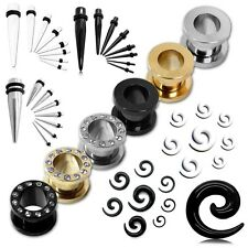 Expander Flesh Tunnel Set Taper Stretcher Plug Spiral Stretching Kit Piercing