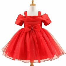New Flowers Bowknot Dress Kids Girl Tulle Strapless Wedding Party Princess Dress
