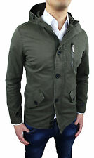 JACKET MEN'S JACKET PARKA SLIM FIT MILITARY GREEN NEW size S M L XL XXL