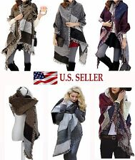 Stylish Fringe Plaid Checked Blanket Scarf Color Block Long Wrap Shawl