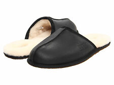 Men UGG Australia Scuff Leather Slipper 1001546 Black 100% Authentic Brand New