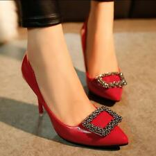 Women High Quality High Heels PU leather Pumps Wedding Jeweled Rhinestone Shoes