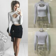 Sexy Ladies Womens Halter neck Crop Top Long Sleeve Slim Fit Top Blouse T shirts