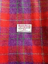 Harris Tweed Fabric & labels 100% wool Red & Purple check - ideal for crafts