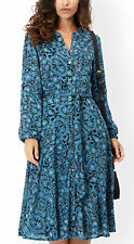New Monsoon 8 - 22 NIAMH Boho Ethnic Blue Floral button front Vintage '70s Dress