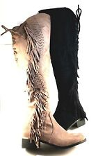 Lady Couture Fringe Suede Over the Knee Boots Choose Sz/Color