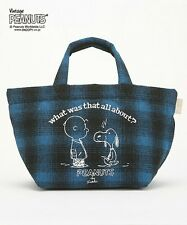 PEANUTS SNOOPY Print Lunch Box Tote Bag Handbag Check Purse from Japan T4823