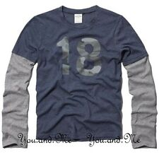NEW ABERCROMBIE FITCH KIDS A&F Boys twofer Long Sleeve Tee T-Shirt Navy S L XL