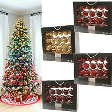 42pcs Christmas Tree Decoration Mini Shatterproof Baubles Red Gold Blood 70mm