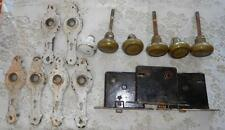 Lot of 3 Antique Lock Sets Brass Door Knobs Plates Mortise
