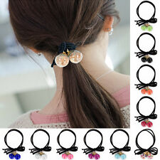 Girl Women's Double Round Ball Ponytail Rubber Band Holder Ribbon Bow Hair Rope