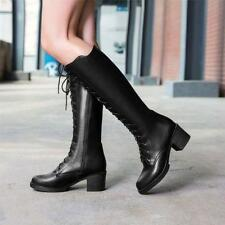 Womens Lace Up Punk cuban Heels Knee High Boots Knight Pu leather Riding Shoes