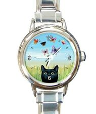 Italian Charm Metal Watch Round Square black Cat 606 Butterfly nature L.Dumas