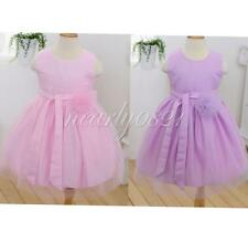 New Tulle Dress Girls Kids Wedding Party Flower Pageant Bowknot Formal Gown 2-7Y