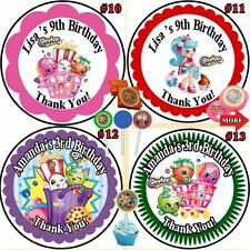 Shopkins Birthday Stickers Labels Round 1 sheet Personalized Custom Mad 3 Sizes