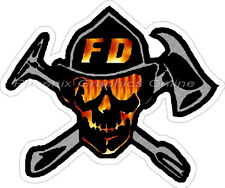 Firefighter Flaming Skull Reflective Decal Sticker Rescue EMT EMS Paramedic