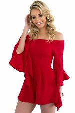 Sexy Off-shoulder Frill Sleeve Ruffles Playsuit Women Fashion Rompers Jumpsuits