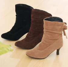 Womens Ladies Pointed Toe Faux Suede Slouchy Stilettos Mid Calf Boots Full Size